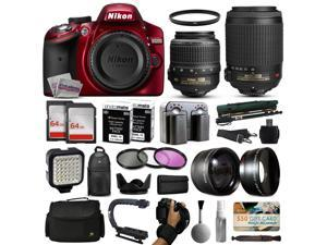 Nikon D3200 Red DSLR Digital Camera with 18-55mm VR + 55-200mm VR Lens + 128GB Memory + 2 Batteries + Charger + LED Video Light + Backpack + Case + Filters + Auxiliary Lenses + $50 Gift Card + More!
