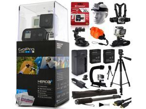 "GoPro HERO3+ Hero 3+ Plus Black Camera CHDHX-302 with 32GB Card + Head/Chest Mount + Suction Cup + Floaty Strap + Wrist Glove + 60? Tripod + 2 Battery + Travel Charger + Opteka X-Grip + 67"" Monopod"