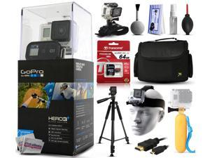 GoPro HERO3+ Hero 3+ Plus Black Edition Camera CHDHX-302 with 64GB Ultra Memory + Large Padded Case + 60? Pro Series Tripod + Headstrap Mount + Floaty Bobber + HDMI Cable + Wrist Glove + Cleaning Kit