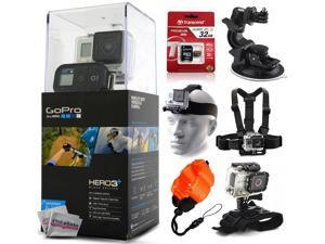 GoPro HERO3+ Hero 3+ Plus Black Edition Camera CHDHX-302 with 32GB Ultra Memory + Suction Cup Mount + Headstrap + Chest Harness + Hand Wrist Glove + Floaty Strap