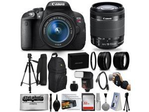 Canon EOS Rebel T5i 18.0 MP CMOS DSLR Digital Camera + EF-S 18-55mm IS STM Lens + Tripod+ 32GB SD Card + Card Reader + Extra Battery + Case Bag + Wide Angle Lens + Telephoto Lens + Cleaning Kit