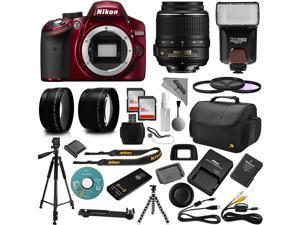Red Nikon D3200 Digital SLR Camera + 18-55mm AF-S DX Nikkor VR + 2.2X Telephoto and 0.43X Macro Lens Kit + 32GB Memory + Bounce Swivel Flash + Tripod + Padded Bag + UV CPL FLD Filter Bundle + Remote