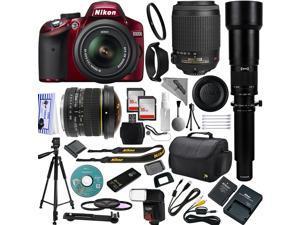 Red Nikon D3200 DSLR Camera 18-55mm + 55-200mm AF-S DX VR Lense Kit + 6.5mm Fisheye + 2600mm Super Telephoto + 32GB Memory + Bounce Swivel Flash + Tripod + Padded Bag + UV CPL FLD Filter Kit + Remote