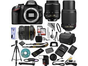 Nikon D3200 DSLR Camera 18-55mm + 55-200mm AF-S DX Nikkor VR Lense Kit + 6.5mm Fisheye + 32GB Memory + Bounce Swivel Flash + Tripod + Padded Case Bag + UV CPL FLD Filter Bundle + Remote Control