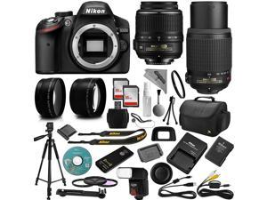 Nikon D3200 DSLR Camera + 18-55mm and 55-200mm AF-S DX VR + 32GB Memory + 2.2X Telephoto and 0.43X Macro Lense Kit + Bounce Swivel Flash + Tripod + Padded Case Bag + UV CPL FLD Filter Bundle + Remote