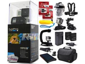 GoPro HERO3+ Hero 3+ Plus Black Camera CHDHX-302 with 128GB Ultra Memory + Solar Charger + Headstrap + Chest Harness + Floaty Bobber + Suction Cup + Opteka X-Grip + Large Padded Case + Two Batteries