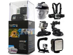 GoPro HERO3+ Hero 3+ Plus Black Edition Camera CHDHX-302 with Headstrap + Chest Harness Mount + Wrist Glove Strap + Suction Cup + LED Light + Opteka X-Grip Action Stabilizer