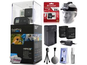 GoPro HERO3+ Hero 3+ Plus Black Edition Camera CHDHX-302 with 64GB Ultra Memory + Headstrap + Two Batteries + Travel Charger + Cleaning Kit