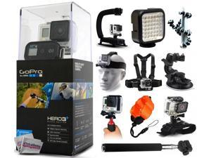 GoPro HERO3+ Hero 3+ Plus Black Camera CHDHX-302 with X-Grip + LED Light + Flexible Tripod + Chest Harness + Headstrap + Suction Cup + Handgrip Stabilizer + Floaty Strap + Selfie Stick + Wrist Glove
