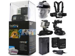 GoPro HERO3+ Hero 3+ Plus Black Edition Camera CHDHX-302 with Headstrap + Chest Harness Mount + Wrist Glove Strap + Suction Cup + Two Extra Batteries + Travel Charger