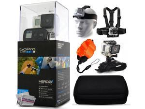GoPro HERO3+ Hero 3+ Plus Black Edition Camera CHDHX-302 with Headstrap + Chest Harness Mount + Floaty Strap + Wrist Glove Strap + Premium Case