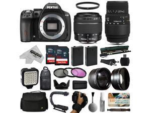 Pentax K-50 DSLR Digital Camera with DA L 18-55mm WR + Sigma 70-300mm Lens + Sandisk 128GB Memory + 2 Batteries + LED Video Light + Backpack + Case + Filters + Auxiliary Lenses + $50 Gift Card + More!