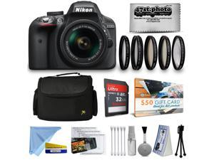 Nikon D3300 DSLR Camera AF-P 18-55mm UV55 Filter + Opteka 5 Piece Filter Kit + Sandisk Ultra SD Card 32GB + Carrying Case + HDMI 5m + Cleaning Kit + Microfiber Cloth + $50 Gift Card + Accessories Kit