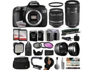 Canon EOS 60D DSLR Digital Camera with 18-55mm IS II + 55-250mm IS STM Lens + 128GB Memory + 2 Batteries + Charger + LED Video Light + Backpack + Case + Filters + Auxiliary Lenses + More