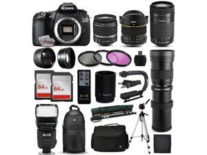 "Canon EOS 60D DSLR SLR Digital Camera + 18-55mm IS II + 6.5mm Fisheye + 55-250 IS STM + 420-1600mm Lens + Filters + 128GB Memory + i-TTL Autofocus Flash + Backpack + Case + 70"" Tripod + 67"" Monopod"