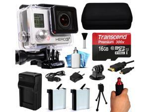 GoPro HERO3+ Hero 3+ Black Plus Edition Action Camera Camcorder with 16GB Starter Accessory Bundle includes MicroSD Card + Stabilization Grip + 2x Batteries + Home and Car Charger + Case (CHDHX-302)