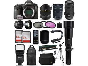 "Canon EOS 6D DSLR SLR Digital Camera + 70-300mm IS USM + 6.5mm Fisheye + 24-105 STM + 650-2600mm Lens + Filters + 128GB Memory + Action Stabilizer + i-TTL Autofocus Flash + Case + 70"" Tripod + More"