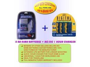 CHARGER, 8AA 2700MAH BATTERIES FOR SONY Digital Camera Cybershot DSC-H1 DSC-H2 DSC-H5 DSC-S600 DSC-S40 DSC-S60 DSC-P20 DSC-P30 DSC-P31 DSC-P51 DSC-P71 DSC-S90 DSC-W5 DSC-W7 DSC-FX77 DSC-P41 DSC-P73