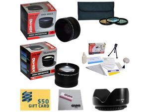 10 Piece Ultimate Lens Package For the Canon PowerShot SX40 SX50 HS SX30 SX20 SX10 SX1 Includes .43x Wide Angle Macro Fisheye Lens + 2.2x Telephoto Lens + Pro 5 Piece Filter Kit + $50 Photo Gift Card!