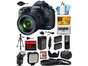Canon EOS 5D Mark III 22.3 MP Full Frame CMOS Digital SLR Camera with EF 24-105mm f/4 L IS USM Lens with 32GB Memory + Large Case + Tripod + Video Light + 2 Battery + Charger + $50 Gift Card 5260B009