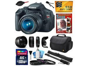 """Canon EOS Rebel T3i Digital SLR Camera with EF-S 18-55mm f/3.5-5.6 IS Lens 32GB Memory, 2.2x, 0.43x Lens, Hood, UV-CPL-FL Filters, 67"""" Monopod, DVD, Cleaning Kit, $50 Gift Card 5169B003"""