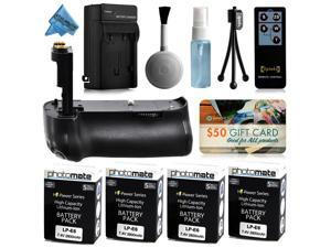 Multi Power Battery Grip + (4 Pack) Ultra High Capacity LP-E6 LPE6 Replacement Battery (2800mAh) + AC/DC Rapid Battery Charger for Canon EOS 70D DSLR SLR Digital Camera (BG-E14 BGE14 Replacement)