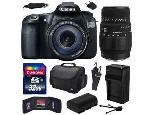 Canon EOS 60D 18 MP CMOS Digital SLR Camera with 18-135mm f/3.5-5.6 IS UD and Sigma 70-300mm f/4-5.6 DG Macro Lens with 32GB Memory + Large Case + Battery + Charger + Cleaning Kit 4460B004