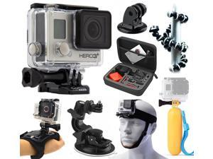GoPro HERO3+ Plus Black Edition Camera Camcorder (CHDHX-302+ Premium Travel Case + Flexible Tripod + Floating Grip Handle + Head Chin Strap + Car Dashboard Suction Mount + Hand Action Glove