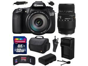 Canon EOS 60D 18 MP CMOS Digital SLR Camera with EF-S 18-200mm f/3.5-5.6 IS and Sigma 70-300mm f/4-5.6 DG Macro Lens with 32GB Memory + Large Case +  Battery + Travel Charger +  Cleaning Kit 4460B016