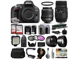 Nikon D5200 DSLR Digital Camera with 18-55mm VR + Sigma 70-300mm Lens + 128GB Memory + 2 Batteries + Charger + LED Video Light + Backpack + Case + Filters + Auxiliary Lenses + $50 Gift Card + More!