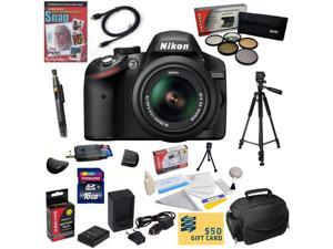 Nikon D3200 Digital SLR Camera with 18-55mm NIKKOR VR Lens With 16GB SDHC Card, Reader, Battery, Charger, 5 PC Filter Kit, HDMI Cable, Case, Tripod, Lens Pen, Cleaning Kit, DVD, $50 Gift Card, More