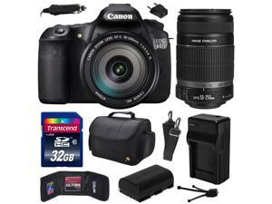 Canon EOS 60D 18 MP CMOS Digital SLR Camera with EF-S 18-200mm f/3.5-5.6 IS and EF-S 55-250mm f/4-5.6 IS II Lens with 32GB Memory + Large Case + Extra Battery + Travel Charger + Cleaning Kit 4460B016