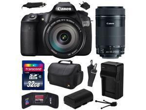 Canon EOS 60D 18 MP CMOS Digital SLR Camera with EF-S 18-200mm f/3.5-5.6 IS and EF-S 55-250mm f/4-5.6 IS STM Lens with 32GB Memory + Large Case + Extra Battery + Travel Charger + Cleaning Kit 4460B016