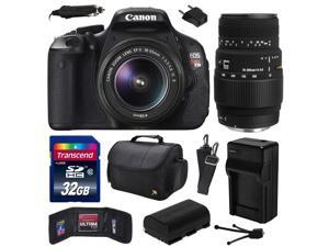 Canon EOS Rebel T3i (600D) Digital SLR Camera with EF-S 18-55mm f/3.5-5.6 IS and Sigma 70-300mm f/4-5.6 DG Macro Lens with 32GB Memory + Case + Battery + Charger + Card Wallet + Cleaning Kit 5169B003
