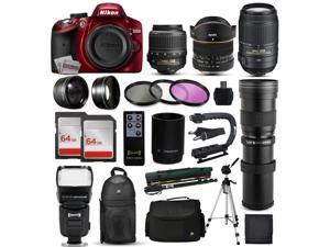 """Nikon D3200 Red DSLR Digital Camera + 18-55mm VR + 6.5mm Fisheye + 55-300mm VR + 420-1600mm Lens + Filters + 128GB Memory + Action Stabilizer + i-TTL Autofocus Flash + Backpack + Case + 70"""" Tripod"""