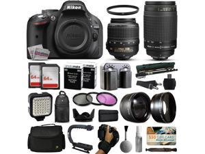 Nikon D5200 DSLR Digital Camera with 18-55mm VR + 70-300mm f/4-5.6G Lens + 128GB Memory + 2 Batteries + Charger + LED Video Light + Backpack + Case + Filters + Auxiliary Lenses + $50 Gift Card + More!