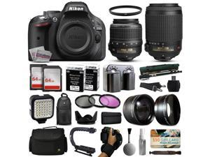 Nikon D5200 DSLR Digital Camera with 18-55mm VR + 55-200mm VR Lens + 128GB Memory + 2 Batteries + Charger + LED Video Light + Backpack + Case + Filters + Auxiliary Lenses + $50 Gift Card + More!
