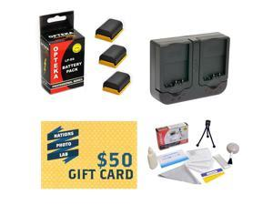 3 Extended Life Replacement Battery Packs For LP-E6 LPE6 For Canon EOS 5D Mark 2 3 II III 5DM2 5DM3 6D 7D 60D 60Da 70D DSLR + Rapid Charger + Deluxe Cleaning Kit + Mini Tripod + $50 Photo Gift Card!