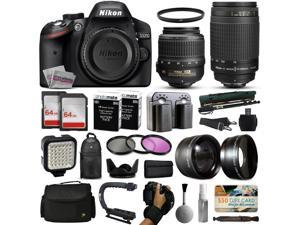 Nikon D3200 DSLR Digital Camera with 18-55mm VR + 70-300mm f/4-5.6G Lens + 128GB Memory + 2 Batteries + Charger + LED Video Light + Backpack + Case + Filters + Auxiliary Lenses + $50 Gift Card + More!