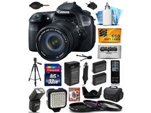 Canon EOS 60D 18 MP CMOS Digital SLR Camera with 18-135mm f/3.5-5.6 IS UD Lens with 32GB Memory + Large Case + Tripod + Flash + Video Light + Two Batteries + Charger + $50 Gift Card 4460B004