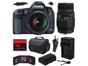 Canon EOS 5D Mark III 22.3 MP Full Frame CMOS Digital SLR Camera with EF 24-105mm f/4 L IS USM Lens and Sigma 70-300mm f/4-5.6 DG Macro Lens with 16GB Memory + Large Case + Battery + Charger 5260B009