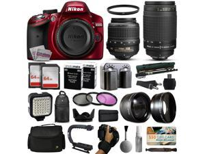 Nikon D3200 Red DSLR Digital Camera + 18-55mm VR + 70-300mm f/4-5.6G Lens + 128GB Memory + 2 Batteries + Charger + LED Video Light + Backpack + Case + Filters + Auxiliary Lenses + $50 Gift Card +