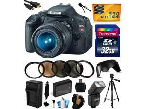 Canon EOS Rebel T3i Digital SLR Camera with EF-S 18-55mm f/3.5-5.6 IS Lens 32GB Memory, Flash, Battery, Charger, Lens Hood, 5 PC Macro Filters, Grip Strap, HDMI Mini Cable & $50 Gift Card 5169B003