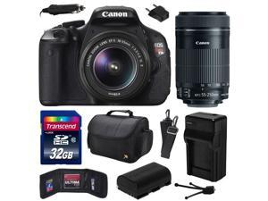 Canon EOS Rebel T3i Digital SLR Camera with EF-S 18-55mm f/3.5-5.6 IS and EF-S 55-250mm f/4-5.6 IS STM Lens 32GB Memory, Large Case, Extra Battery, Travel Charger, Card Wallet, Cleaning Kit 5169B003