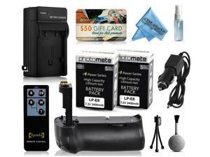 Multi Power Battery Grip + (2 Pack) Ultra High Capacity LP-E8 LPE8 Battery (2400mAh) + AC/DC Rapid Battery Charger for Canon EOS 550D 600D 650D 700D DSLR SLR Digital Camera (BG-E8 BGE8 Replacement)