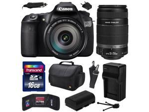 Canon EOS 60D 18 MP CMOS Digital SLR Camera with EF-S 18-200mm f/3.5-5.6 IS and EF-S 55-250mm f/4-5.6 IS II Lens with 16GB Memory + Large Case + Extra Battery + Travel Charger + Cleaning Kit 4460B016