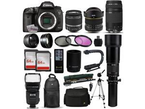 "Canon EOS 7D Mark 2 DSLR Digital Camera + 18-55mm IS II + 6.5mm Fisheye + 75-300 IS STM + 650-2600mm Lens + Filters + 128GB Memory + i-TTL Autofocus Flash + Backpack + Case + 70"" Tripod + 67"" Monopod"