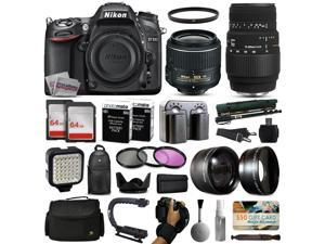 Nikon D7100 DSLR Digital Camera with 18-55mm VR II + Sigma 70-300mm Lens + 128GB Memory + 2 Batteries + Charger + LED Video Light + Backpack + Case + Filters + Auxiliary Lenses + $50 Gift Card + More!