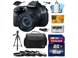 Canon EOS 60D 18 MP CMOS Digital SLR Camera with 18-135mm f/3.5-5.6 IS UD Lens includes 16GB Memory + Large Case + Tripod + 5 Piece UV-CPL-FL-ND4-10x Filters + Cleaning Kit + $50 Gift Card 4460B004