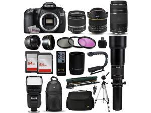 "Canon EOS 60D DSLR SLR Digital Camera + 18-55mm IS II + 6.5mm Fisheye + 55-250 IS STM + 650-2600mm Lens + Filters + 128GB Memory + i-TTL Autofocus Flash + Backpack + Case + 70"" Tripod + 67"" Monopod"